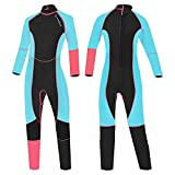 OMGear Kid Wetsuit 3mm Full Suit Neoprene Swimming Suit Long Sleeve Diving Suit Back Zipper Thermal Swimsuit for Youth Boys Girls Scuba Diving Surfing Snorkeling Swimming Water Sports(Pink&Aqua, 12)