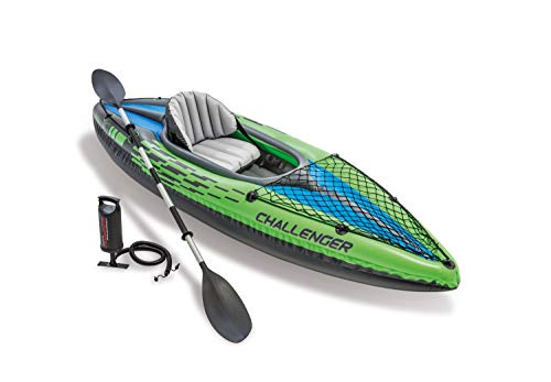 Intex Challenger K1 Kayak 1 Man Inflatable Canoe with Aluminum Oars and Hand Pump