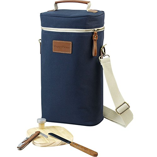 HappyPicnic 2 Bottle Wine Tote Bag,Insulated Travel Wine Carrier, Wine Cooler Bag Set with Picnic Carrying Tote Kit, Corkscrew,Bottle Stopper,Wooden Cheese Board and Knife Father Day