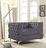 Iconic Home Da Vinci Accent Club Chair PU Leather Button Tufted with Silver Nail Head Trim Silvertone Metal Y-Leg, Modern Contemporary, Grey