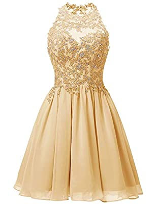 Features:A-Line ,Knee Length Style;Sleeveless;Cowl Neckline;Lace Appliques. Fabric: High quality chiffon fabric,comfortable to wear. Size Note: Different 1-3cm is allowed due to the different measurement method .When you received the items unsuitable...