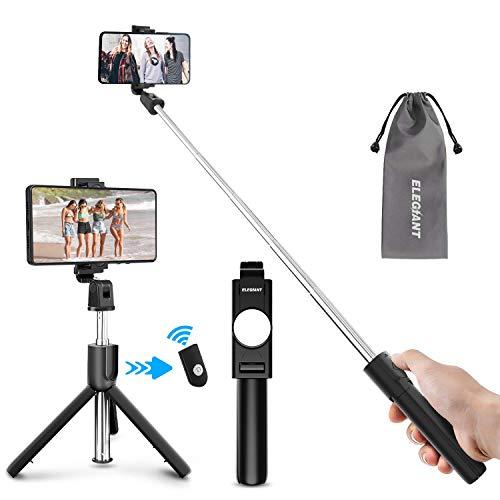 ELEGIANT Palo Selfie Trípode, Selfie Stick Móvil Bluetooth para Viaje, Autofoto Extensible de Control Remoto, Monopié 3 en 1 con Obturador Deportivo, Rotación 360 Grados, Compatible con iOS, Android