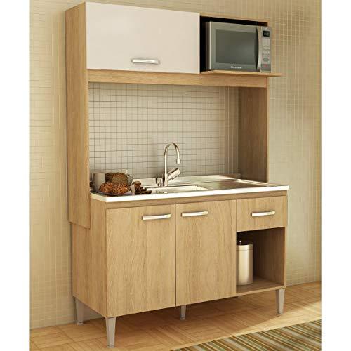 Cozinha Compacta Sarah 3 Portas Carvalho E Branco Cc14 Fellicci