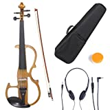 Cecilio 3/4 CEVN-2NA Solid Wood Electric/Silent Violin with Ebony Fittings in Style 2 - Mahogany Metallic