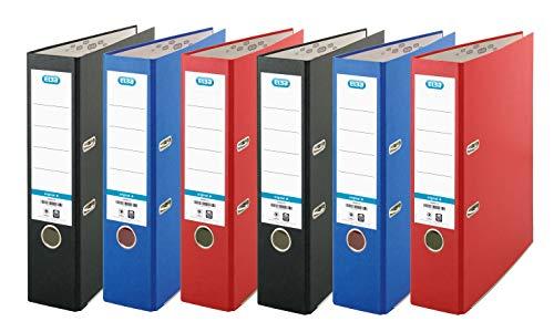 Elba - Raccoglitore a leva, formato A4, confezione da 6, colore: Rosso/Nero/Blu