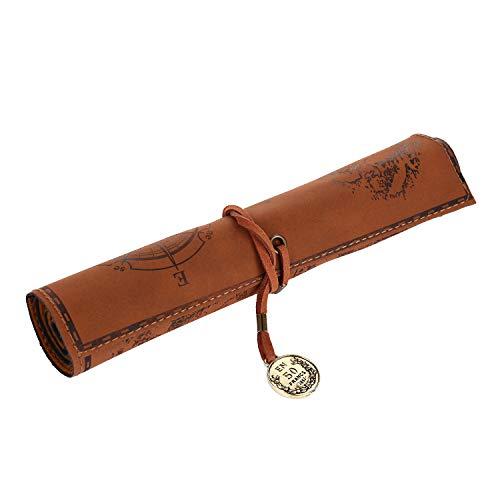 VABNEER Sacchetto della Matita PU Retro Vintage sacchetto Rollup caso di matita (Marrone)