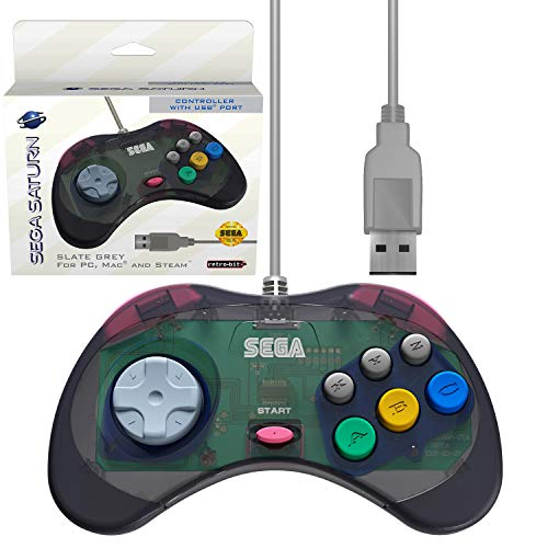 Retro-Bit Official Sega Saturn USB Controller Pad (Model 1) (Old Version) for Sega Genesis Mini, PC, Mac, Steam, RetroPie, Raspberry Pi - USB Port - (Slate Grey)