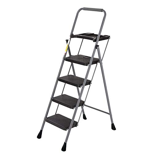4 Step Ladder Tool Ladder Folding Portable Steel Frame Lightweight for Adults Indoor/Outdoor with Tool Platform...