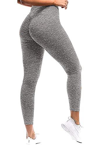 Mallas Pantalones Deportivos Leggings Mujer Yoga Alta Cintura Elásticos Transpirables Yoga Fitness Color sólido Relieve Push UP Cáñamo Gris S