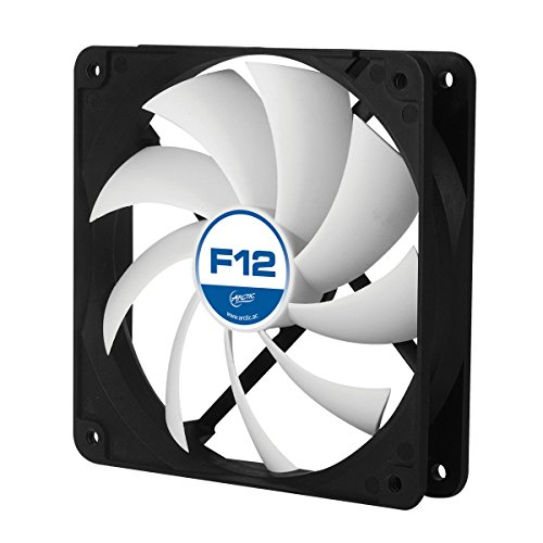 ARCTIC F12 - 120 mm Standard Case Fan, very quite motor, Computer, Push- or Pull Configuration, Fan Speed: 1350 RPM - Black/White