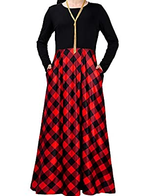 Material: this christmas dress is made of modal fibre, polyester and spandex; It is stretchy, soft and comfy; Warm note: hand wash recommended with low temperature water, using gentle soap, no bleach Great design: the plaid long sleeve dress has soli...