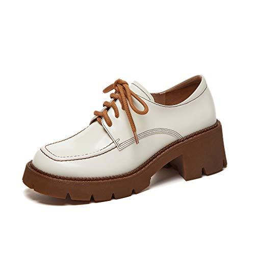 ANNIESHOE Blucher Mujer Cuero Cordones Oxford Derby Zapatos Tacon Plataforma Primavera Otoño Beige 35CN 35EU 22.5cm