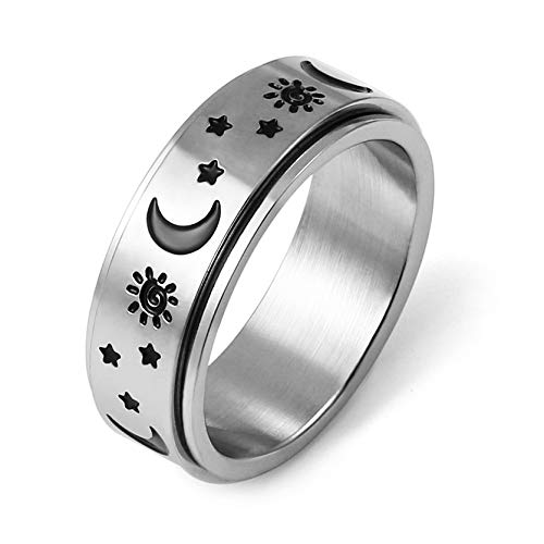 HZMAN Moon Star Sun Fine Tuning Rotating Ring Stainless...