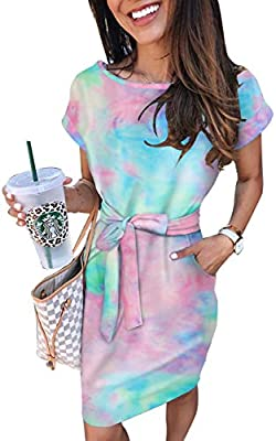 Material:Cotton .Relaxed And Breathable Fabric. Features:Tie dye,short sleeve, Bodycon, Pockets ,Tie waist, Knee length. Occasions: Great for Spring, Summer, Fall, Daily Casual, Date, Party, Beach, Vacation, Wedding, At Home. Also you can send it to ...