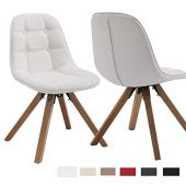 Juego de 2 Silla de Comedor de Cuero sintético Blanco Polipiel diseño Retro Silla Vintage Estilo escandinavo con Patas de Madera DH0364