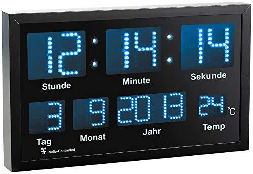 Lunartec LED Uhr: LED-Funk-Tisch- und Wanduhr mit Datum und Temperatur, 412 Blaue LEDs (Digitaluhr mit Temperaturanzeige)