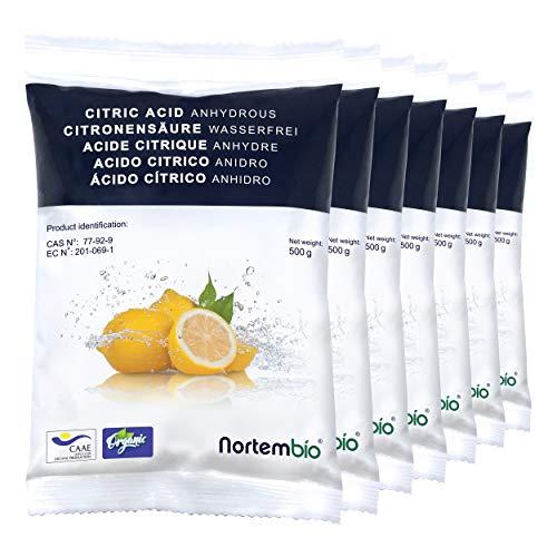 Nortembio Acido Citrico 3,5 kg (7x500g). Polvere Anidro, 100% Puro. per Produzione Biologica. Sviluppato in Italia.