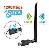 Maxesla Clé WiFi Double Bande AC 1200Mbps USB WiFi Adaptateur WiFi Dongle,...