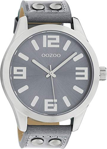 Oozoo Armbanduhr Basic Line mit Lederband 47 MM Graublau/Graublau C1060