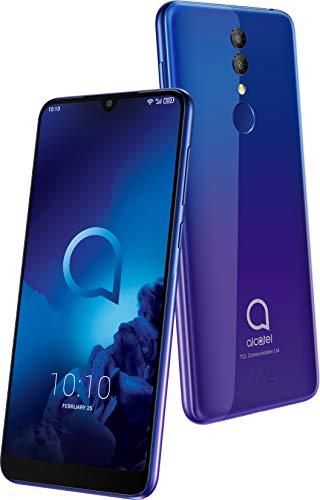 """Alcatel 3 (2019) smartmovil (pantalla 5,94"""", 64GB RAM, 32GB memoria interna, Dual SIM, doble cámara frontal 13 Mpx + 5 Mpx, cámara selfie 8 Mpx, batería 3.500 mAh, Android), color Azul y Púrpura."""