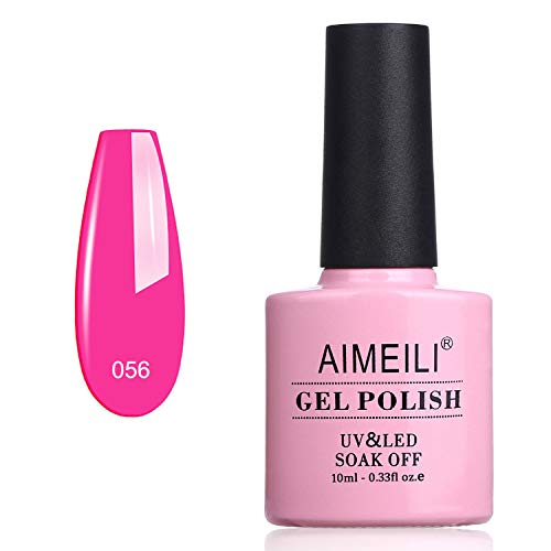 AIMEILI Soak Off UV LED Gel Nail Polish - Neon Peachy Pink (056) 10ml