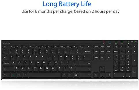 Arteck 2.4G Wireless Keyboard Stainless Steel Ultra Slim Full Size Keyboard with Numeric Keypad for Computer/Desktop/PC/Laptop/Surface/Smart TV and Windows 10/8/ 7 Built in Rechargeable Battery 14