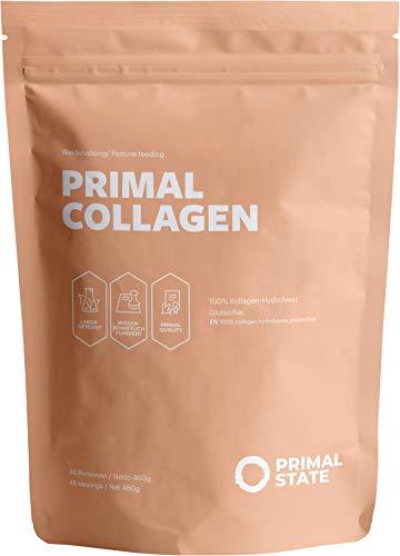 Primal State® Collagen Pulver [460g] - aus zertifizierter Weidehaltung – Kollagen Hydrolysat Peptide Typ 1, 2 und 3 - ohne Zusatzstoffe
