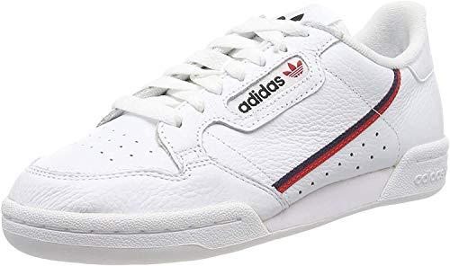 Adidas Continental 80, Zapatillas de Gimnasia Hombre, Blanco (FTWR White/Scarlet/Collegiate Navy FTWR White/Scarlet/Collegiate Navy), 42 EU