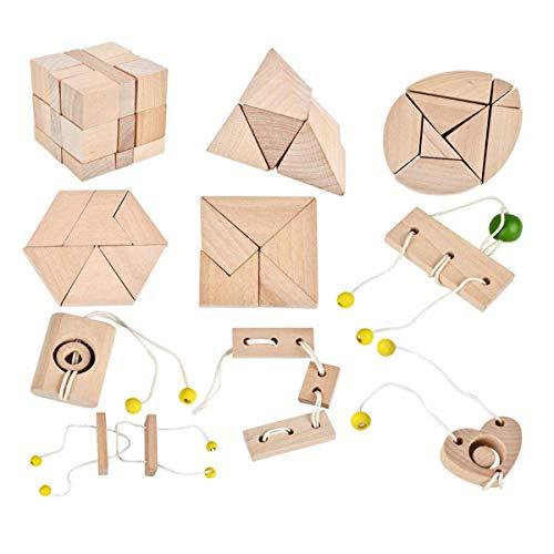 B&Julian - Rompecabezas de madera 3D  Juego de 10 mini r