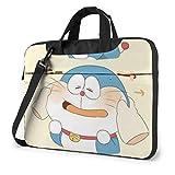 Maletín para Ordenador portátil Kawaii Doraemon de 14 Pulgadas, maletín de Negocios para Hombres y Mujeres, Bolso de Transporte con Funda para Ordenador portátil y Bandolera para Hombro