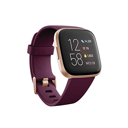 Fitbit Versa 2 Health & Fitness Smartwatch with Voice Control, Sleep Score & Music, Bordeaux, One Size, Exclusive to Amazon