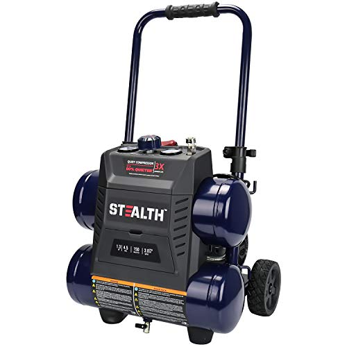 Stealth Ultra Quiet Air Compressor, 64 Decibel 4.5 Gallon Peak 1.3 HP Max 150 PSI, Oil-Free Air Pump, 3 CFM @ 90 PSI Portable Air Compressor W/Wheel for Garage, Workshop, Jobsite