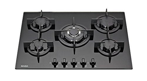 SAGA Elegans X751-B Plaques de cuisson en Verre trempé avec 5 brûleurs à gaz Noir 70 cm