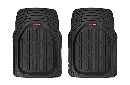 Motor Trend FlexTough Tortoise - Front Seat Heavy Duty Rubber Floor Mats for Car SUV Van & Truck - All Weather Protection - Deep Dish (2PC Black)