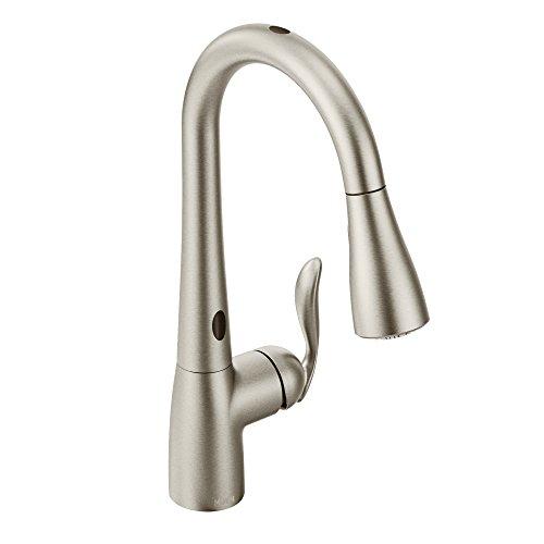 Moen 7594ESRS Arbor Motionsense Two-Sensor Touchless One-Handle Pulldown Kitchen Faucet Featuring Power Clean, Spot...
