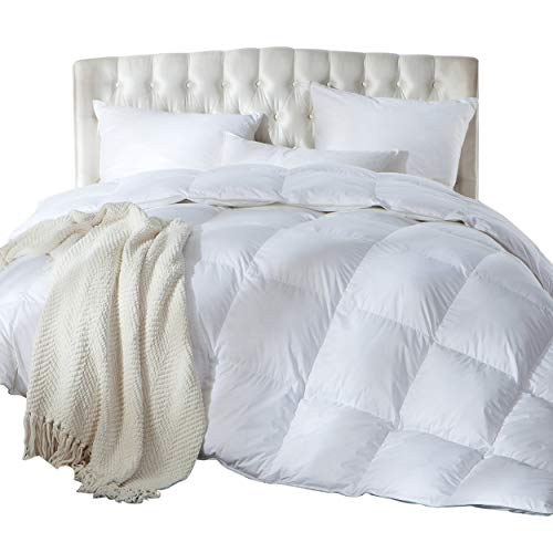 Luxurious King / California King Size Siberian Goose Down Comforter, Duvet Insert, 1200 Thread Count 100% Egyptian Cotton, Hypoallergenic, 70 oz Fill Weight, 1200TC, White Solid