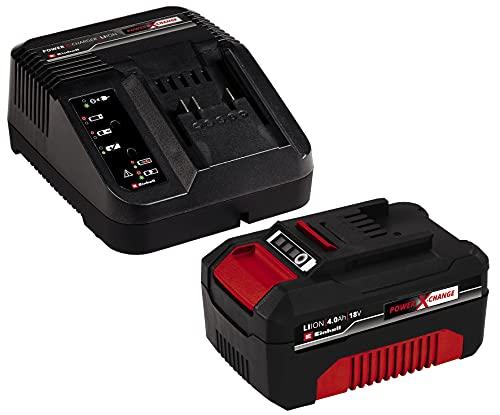 Einhell 4512042 Power-X-Change Starter Kit, Caricabatteria e Batteria da 4000 mAh Li-Ion, Nero, Rosso