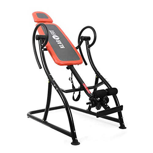 KLAR FIT Relax Zone Pro - Table d'inversion, Exercices du Dos, Cadre de Construction en Acier Stable, 3 Positions, Rembourrage Mousse, Coussin Inclus, 150Kg Max, Cousin-Rouge