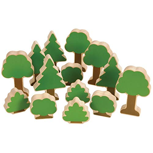 Guidecraft Nature's Accents: Trees and Bushes for Block Play - Set of 14