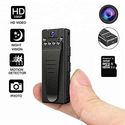 Mini Telecamera indossabile,DEXILIO 1080P Portatile Micro Spy Cam Sorveglianza con Visione notturna e sensore di movimento,Senza Fili Piccola Microcamere Spia per Esterno/Interno (con scheda da 32GB)