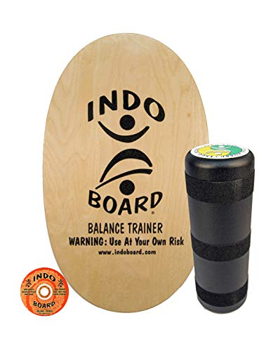 """INDO BOARD Original - Natural Wood Design - Balance Board for Fun, Fitness and Sports Training - Comes with 30"""" X 18"""" Non-Slip Deck and a 6.5"""" Roller"""