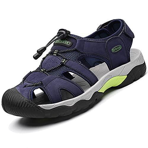 DimaiGlobal Sandalias Deportivas para Hombre Al Aire Libre Cuero Verano Playa Senderismo Zapatos Antideslizante Trekking Casual Sandalias 44EU Azul