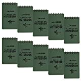 CUGBO 10 Pack Waterproof Notebook, All-Weather Pocket Sized Tactical Notepad, Top Spiral Memo Grid Paper Notepad for Outdoor Activities Recording(Army Green3.2'x5.5')