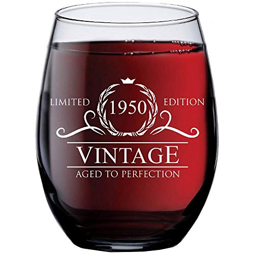 1950 70th Birthday Gifts for Women Men - 15 oz Stemless Wine Glass - 70 Year Old Present Ideas for Mom Dad - Funny Vintage Unique Personalized - Party Anniversary Reunion Decorations Supplies