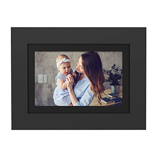 PhotoShare Friends and Family Smart Frame 8' Digital Photo Frame, Send Pics from Phone to Frame, Wi-Fi, 8 GB, Holds Over 5,000 Photos, HD, 1080P, Black/White Mattes, iOS, Android