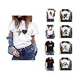 MAWOLY Femmes Casual T shirts Plus La Taille Lâche Manches Courtes Col Rond Blouse Tops D'été Filles Coeur Géométrique Graphique Lettre Fleur Soleil...