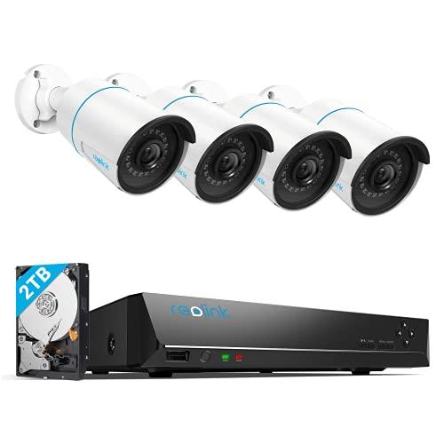 Reolink 5MP Kit Videosorveglianza IP PoE, Intelligente Rilevamento di persone e veicoli, 8CH 2TB 4K NVR e 4X 5MP Telecamera Esterno Impermeabile, Visione Notturna, Registrazione 24/7, RLK8-510B4-A