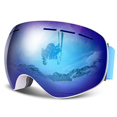 HAUEA Maschera da Sci Occhiali da Sci con Protezione UV400 Intercambiabile sferica e Doppia Lente...