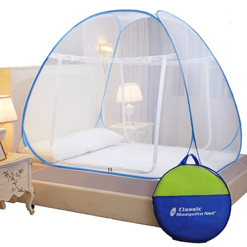 Classic Mosquito Net, Polyester, Foldable for Double Bed, Strong 30GSM, PVC Coated Steel - King Size, Blue
