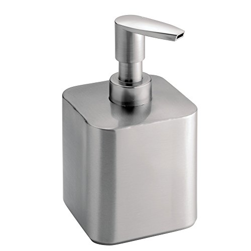 iDesign Gia Short Metal Soap Dispenser Pump for Body Moisturizer, Sanitizer or Aromatherapy Lotion in Bathroom, Kitchen, Bedroom, Vanity, 3.5' x 3.25' x 5.5' - Brushed Stainless Steel